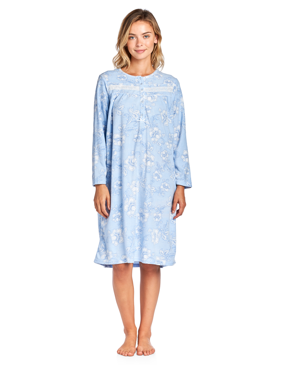 Casual Nights Women s Long Sleeve Micro Fleece Cozy Floral Night Gown - Blue 3f37db812