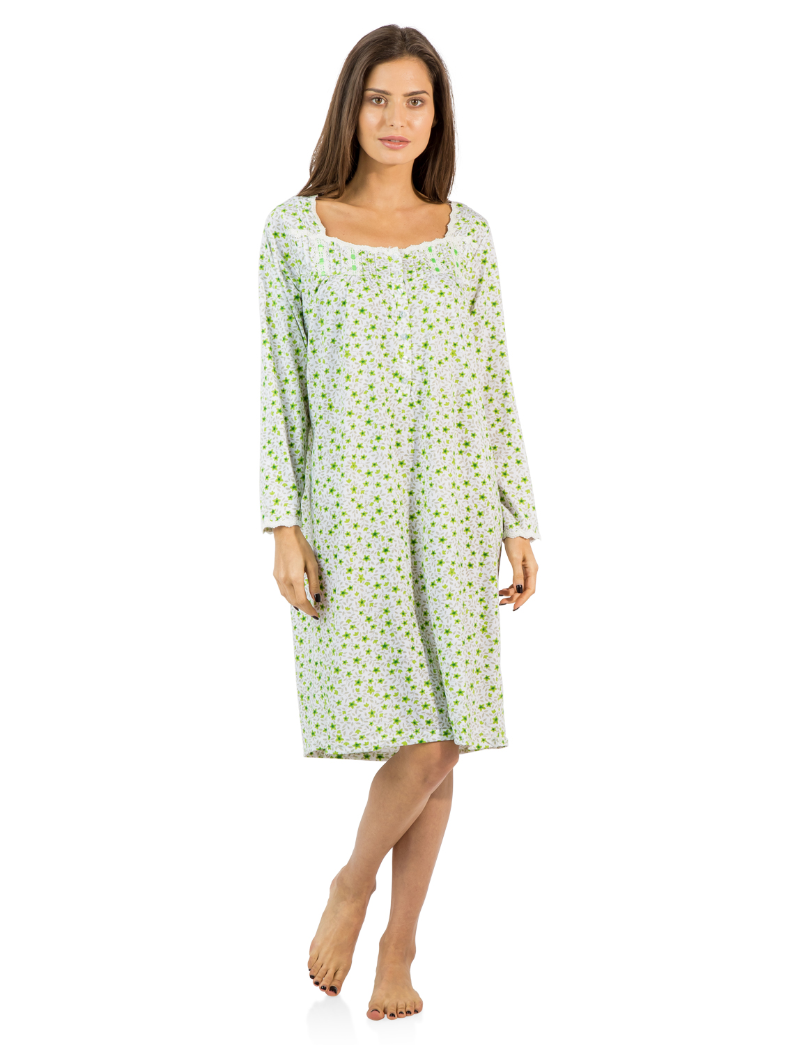 Beverly Rock Womens Cotton Blend Floral Print Short Sleeve Knit Nightgown